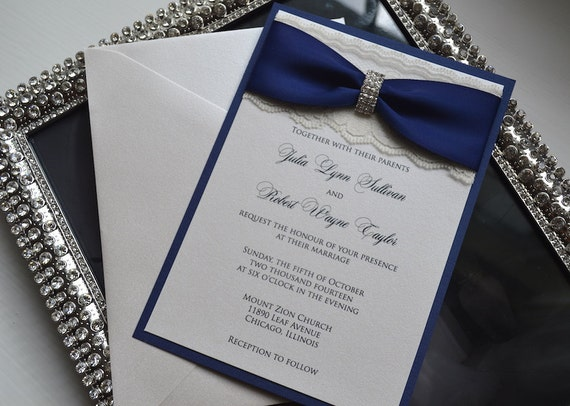 Navy Blue And Silver Wedding Invitations: Glamour Lace Wedding Invitation