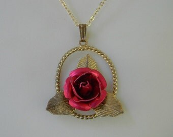 Vintage ROSE NECKLACE PENDANT Shabby Chic Italian Tole Rose LeaF