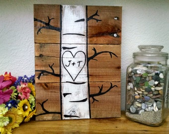 Custom Quaking Aspens with initials Pallet Art, Wood Sign, Wall Hanging, Upcycled, Repurposed, Wood Pallet, Hand Made, Wedding gift