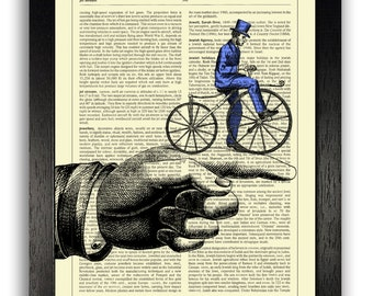Cyclist on Hand Artwork Wall Decor, Vintage Home Decoration, Dictionary Print Book Page Art, Unique Gift for Boyfriend, Funny Gift for Man
