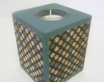 Wood Tealight Candle Holder/ Candle holder/ Tealight/ Tealight candle/ polka dots