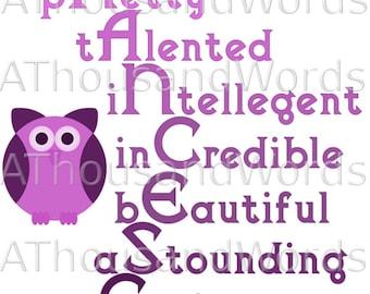 Personalised Name Art Print, Acrostic Name Art, Gift for Older Child, Gift for Her,  Customisable, Any Image, Digital, Unframed or Framed