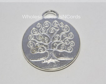BULK 100 - TREE of LIFE Tibetan Style Charm / Pendant 26x24x2mm - Antiqued Silver - Round - Instant Ship from Usa seller 0229
