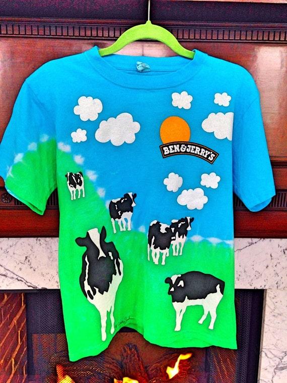 Vintage Ben And Jerrys T Shirt Tie Dye 1980s Vermont Cows