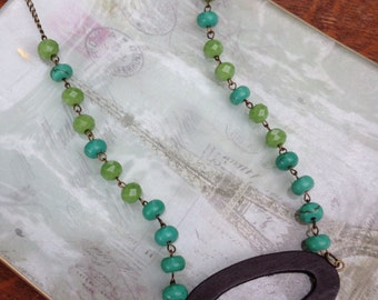 Bohemian, casual beaded, turquoise blue and green