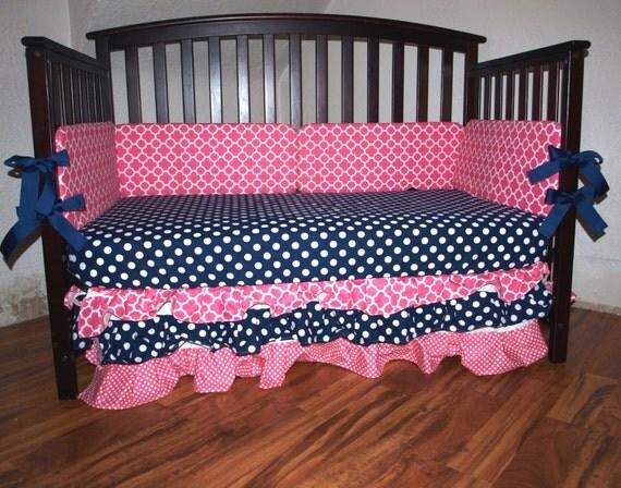 Items Similar To Nautical Navy Pink White Nursery Custom