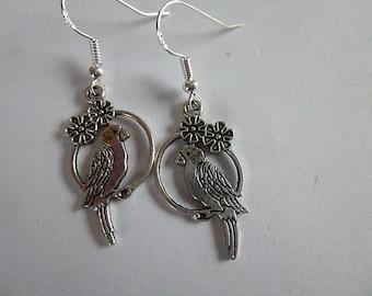 Pretty Silver Parrot Earrings ,  Silver Earrings