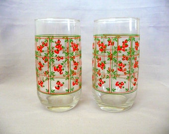 Vintage Strawberry Drinking Glasses