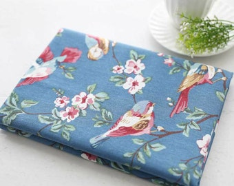 Cotton Linen Fabric Bird and Flower Home deocor Fabric Upholstery fabric  - 1/2 Yard