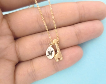 Personalized, Letter, Initial, Gold, Silver, Giraffe, Animal, Necklace, Cute, Birthday, Friendship, Sister, Gift, Jewelry