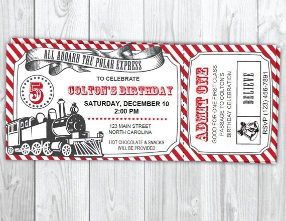 The Polar Express Birthday Invitation - Christmas Polar Express Party