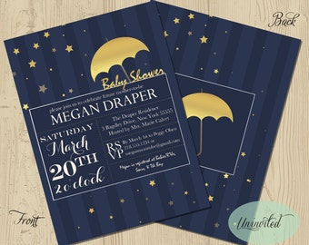 Star Baby Shower Invitation - Baby Shower, Invitation, Invites, Dreamy, Whimsical, Navy, Starry, Shower, Stars, baby announcement, gold
