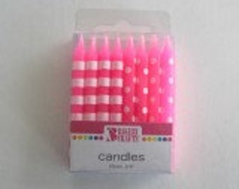 BRIGHT PINK Dots & Stripes Birthday Candles
