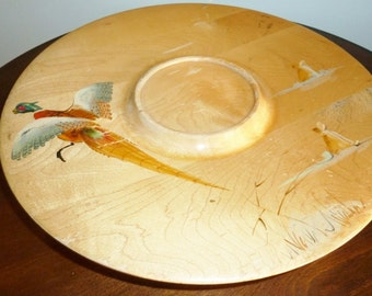 Vintage Lazy susan  Wood hunting geese tray