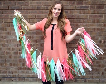 Mint pink and gold tissue paper tassel garland