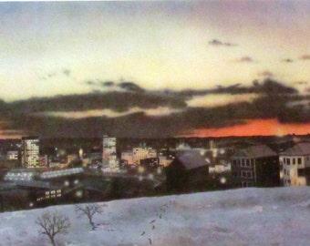 Vintage art print litho poster NOS Worcester, Massachusetts from Belmont Hill 1979 cityscape