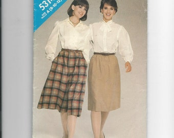 See and Sew 5314 Misses Skirt and Culottes Size 8-12