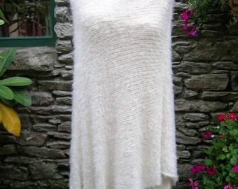 Poncho / Cosy cream knit poncho / Funky cream knit shawl