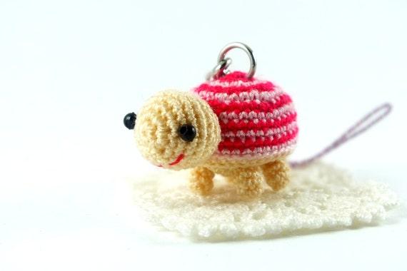 Amigurumi Penguin Cell Phone Strap : Mini Pink Tone Turtle Amigurumi Crochet Doll Cell Phone Charm