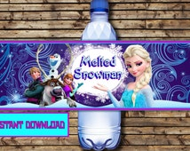 Disney Frozen Water Bottle Labels - Olaf  Water Bottle Labels - Frozen Party-Disney Frozen Party Printable -MELTED SNOWMAN
