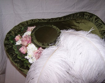 Green Silk Edwardian Titanic Steampunk Derby Hat w/ Pink Flower and White Feather Accents