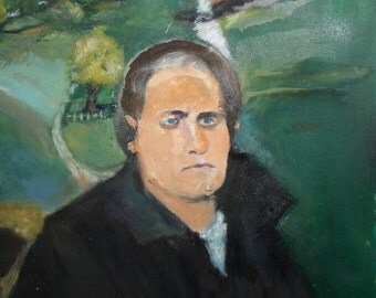 Impressionist oil painting landscape portrait signed