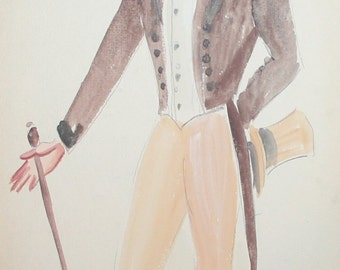 Vintage theatre man costume design wc painting signed