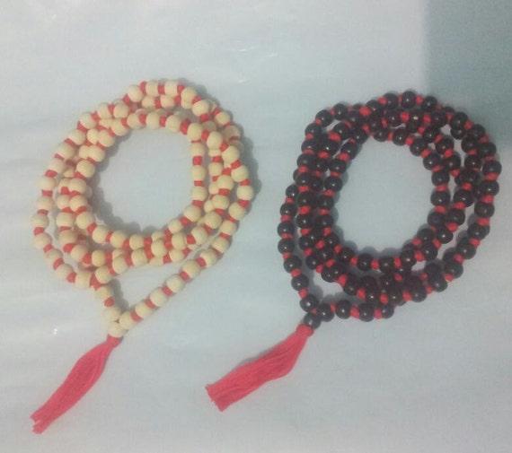 tulsi mala rosary japa necklace for meditation mantras wooden