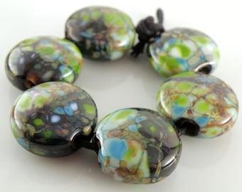 Earth Mother SRA Lampwork Handmade Artisan Glass Lentil Beads 18mm Made to Order Set of 6