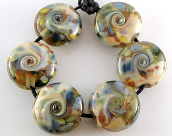 Nautical Neptune Nuggets SRA Lampwork Handmade Artisan Glass Lentil Beads 18mm Made to Order Set of 6