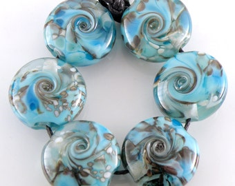 Rocky Waters SRA Lampwork Handmade Artisan Glass Lentil Beads 18mm Made to Order Set of 6