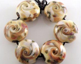 Toffee Crunch Swirls SRA Lampwork Handmade Artisan Glass Lentil Beads 18mm Made to Order Set of 6