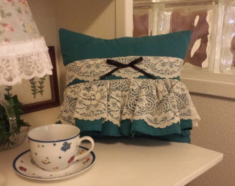 25% OFF Dainty ChicTeal Lace Ruffled Pillow......now 10.50