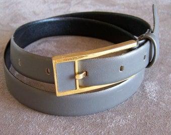 "Grey belt Amboise box calf 27.5"" Vintage Made in France"