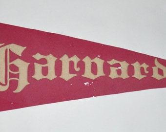 Genuine Vintage Original Sewn Letters Felt Pennant for Harvard -- Free Shipping!