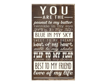 You Are the Love Of My Life Rustic Wood Sign / Wooden Plaque / Bedroom Decor / Wall Decor / Home Decor (#1681)