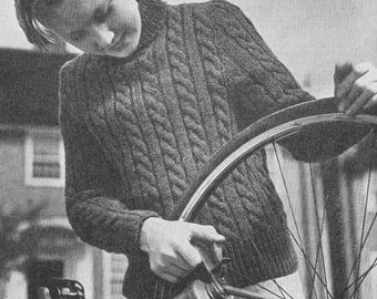 Vintage 1948 Knitting Pattern Boys Cable Jersey Jumper for a 12-14 Year Old - digital download