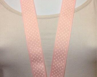 Pink polka dots lanyard, ID holder, key holder