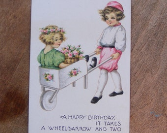 Vintage Birthday Postcard with Cute Children in Wooden Wheelbarrow with Pink Flowers Unsigned Artist Rendering Victorian Post Card - 2146f