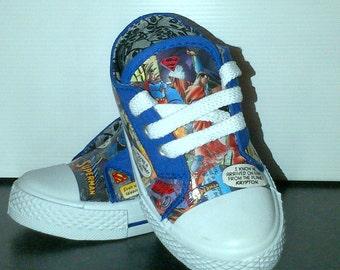 Child's DC Universe Superman Comic Shoes, Infant Size 7, Customised, Decoupage, OOAK, Sneakers