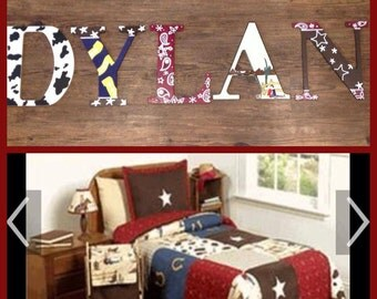 "Wooden letters for kids bedrooms ""cowboys and bandanas"""