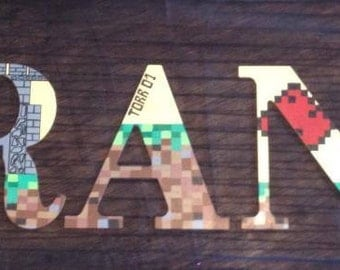 "Wooden letters for kids bedrooms ""Minecraft"""