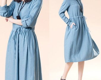 3 Colors Women spring dress with drawstring waistband/ elegant dress with button top (D1047)