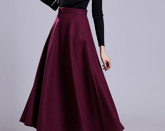 Women woolen expansion skirt Winter thick skirt Warm Skirt Formal skirt Winter Pleated skirt (WS111