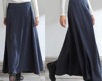 Womens Clothing Womens Skirt Casual Skirt Pleated Skirt Plus size Skirt Blue Skirt Ankle Length Linen Long Handmade Skirt(WS11222)