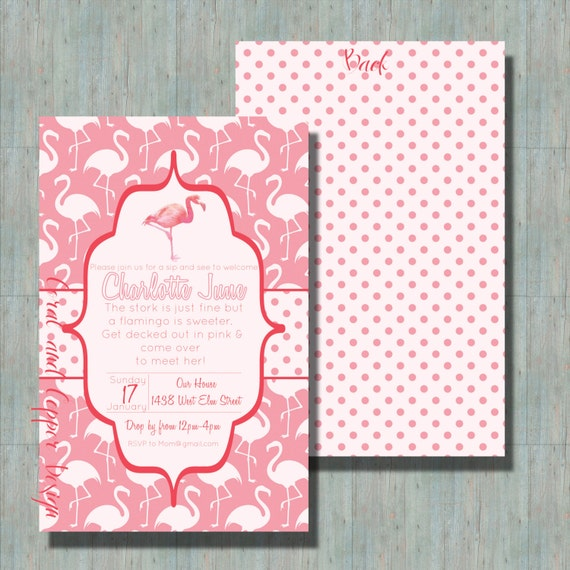 flamingo baby shower sip and see invitation