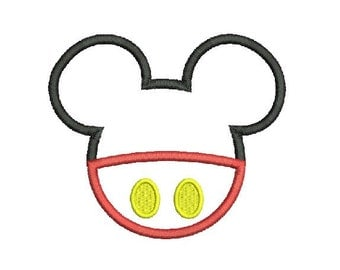Outline Micky Machine Applique Embroidery Designs 4 Size - INSTANT DOWNLOAD