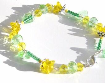 Yellow Bracelet, Spring Bracelet, Daffodil Bracelet, Spring Gift, Easter Gift