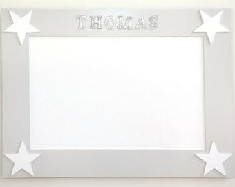 Pin Board - Star Design - Pale Taupe and White, Photo Board, Art Display, Notice Board, Memo Board, Pin Board