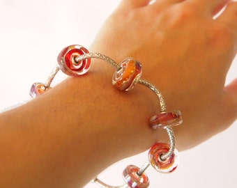 Modern Sterling Silver and Lampwork Bracelet